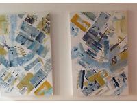 Abstract Wall Art; Azure Blue An Original Canvas Set of 2 90 x 60cm Hand Painted Acrylic