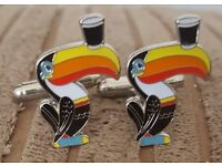 Guinness toucan cufflinks.