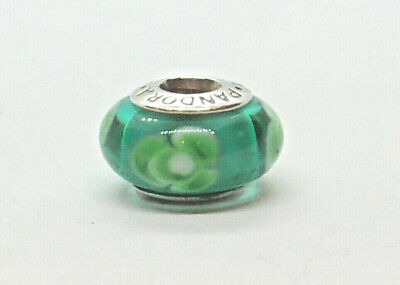 Authentic Pandora Sterling Silver 925 ALE Charm. GLASS - FLOWERS