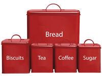 REDUCED-Retro kitchen starter set-Full 5piece storage for bread tea coffee sugar&biscuits(RRP£39.99)