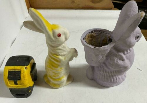 LOT 2 Vintage Easter Paper Mache Bunny Candy Container