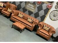NEW Chesterfield Suite - 3 Seater Sofa, Club Chair & Wing Back Chair Tan Brown Leather UK Delivery