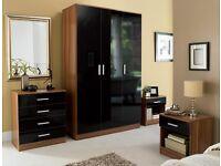 4 PIECE BEDROOM SET 3 DOOR WARDROBE, DRAWER CHEST, 2 X BEDSIDE TABLE Walnut/Black gloss