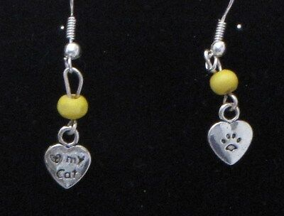 Cat / Kitten Dangling Earrings (C3) - You pick the Bead color..