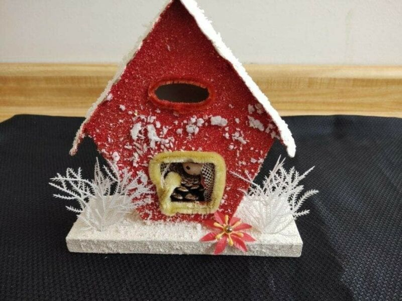 Vintage Japan made cardboard flocked MC Christmas house