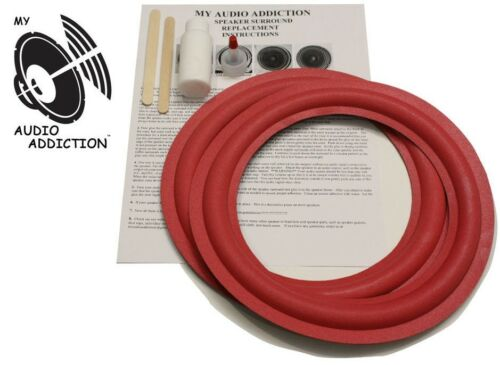 "FOAM SPEAKER SURROUND REPAIR KIT FOR CERWIN VEGA RE-25 10"" RED OVER GREY FOAM !!"
