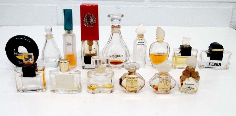 Lot of 15 Vintage MINIATURE PERFUME Glass SAMPLE BOTTLES Parfum Scent