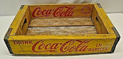 1965 Drink Coca Cola Chattanooga Yellow Wood Crate