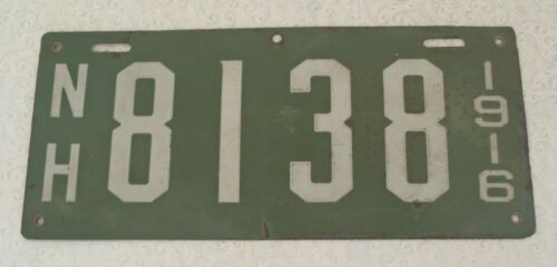 1916 Porcelain New Hampshire License Plate Tag  8138