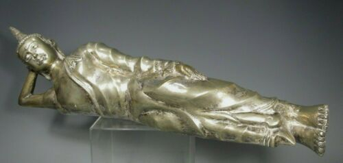 "Monumental 27"" Thai Thailand ? Laos ? Metal  Resting Buddha ca. 20th century"