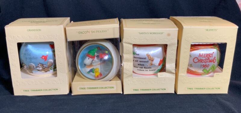"""Vintage tree-trimmer collection 1980 ornaments """"Muppets"""", SNOOPY ski Holiday"""""""