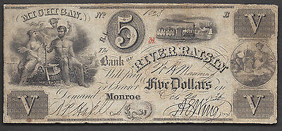 5 1836 Obsolete Bank Of River Rasin Monroe Mi Gods W  Maid Elaborate Train Vg F