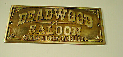 Deadwood Saloon Girls Whiskey Gambling Plaque Sign Western Lawman Antique Style