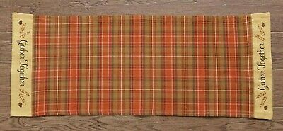GATHER TOGETHER FALL TABLE RUNNER PLAID Leaves Acorn Autumn Thanksgiving - Autumn Leaves Table Runner