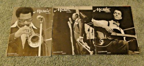 3 MOSAIC RECORDS CATALOGS featuring WOODY SHAW, LOUIS ARMSTRONG & EDDIE CONDON