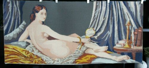 LARGE VINTAGE COMPLETED  WOOL NEEDLEPOINT CANVAS 44 X 20 NUDE LADY, MARGOT, EUC