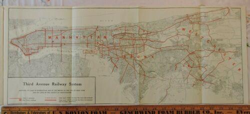 Rare 1922 TARS New York City NYC Trolley Annual Report 11x25 MAP 3rd Av Railway