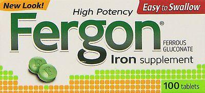 Fergon High Potency Iron Supplement Tablets, 100 ea