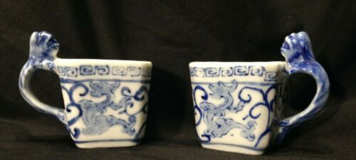 Set of 2 Blue & White Square Asian Tea Cups Serpent Handle