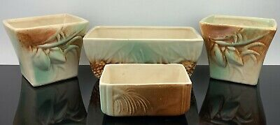 McCoy Pottery Planter Set Teal, Brown, & Cream Acorn Feet ***4 Pieces*** -