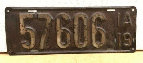 1919 Iowa License Plate 57606