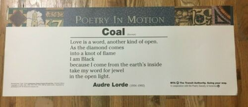 Rare Audre Lorde COAL MTA NYC Subway Art Poetry in Motion Poster Original 1990s