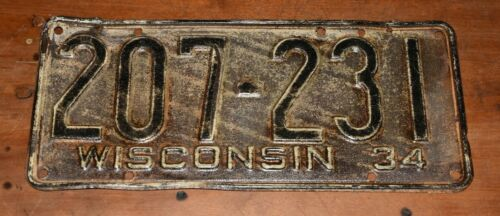 Rare 1934 WISCONSIN License Plate-Nice Condition-Low Price