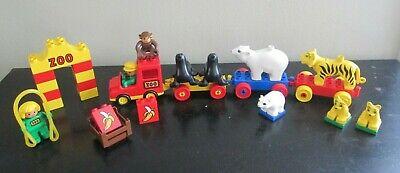 Vintage Lego Duplo Lot - Zoo Train - Animals Tigers Monkey Seal Polar Bears Sign
