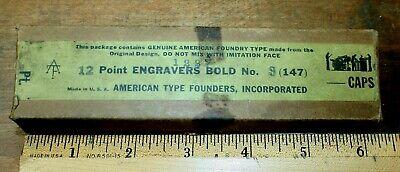 Nos Atf 12pt Engravers Bold No. 3 No.147 Letterpress Metal Type