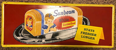 VINTAGE 1950's SUNBEAM BREAD SIGN / HTF!! /BAKERY KITCHEN STORE ADVERTISING