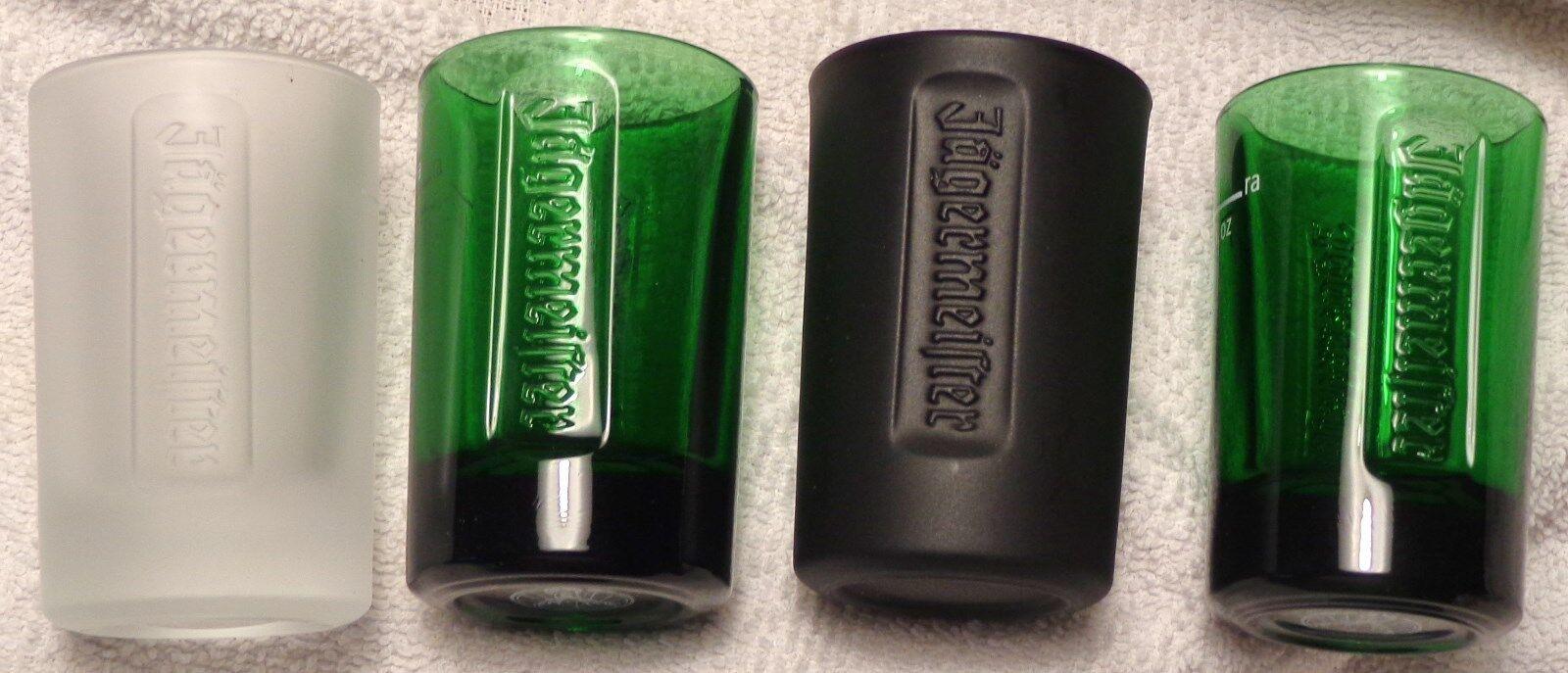 JAGERMEISTER Set Of 6 JAGER GREEN GLASS SHOT GLASSES W// EMBOSSED LOGO NEW!