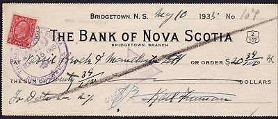 Bank of Nova Scotia 1935 Cancelled Cheque with Duty Stamp (Scotia Bank)