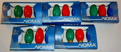 Noma C-9 1/4 Christmas Outdoor Bulbs Lot Of 20  5-White 5-Green 5-Red 5-Blue NOS