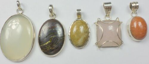5 Vintage 925 Sterling Silver Quartz, Tiger Eye, Agate GemStone Pendant 81 Grams