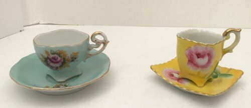 Vintage Demitasse Teacup Saucer Tea Cup Lot Celebrate Occupied Japan HB Roses