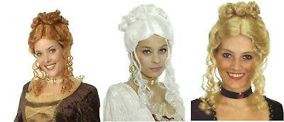 Damen BAROCK Perücke Kostüm Rokoko Lady mittelalter Larp rot weiß blond NEU - Weiße Kostüm Perücke