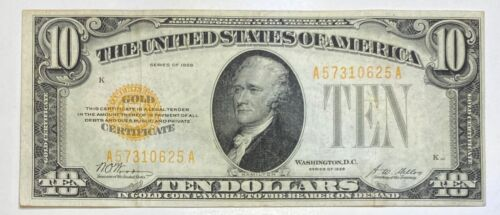1928 Small $10 Gold Certificate Currency Note Serial #57310625