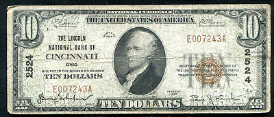 1929  10 The Lincoln Nb Of Cincinnati  Oh National Currency Ch   2524
