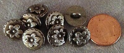 (8 Dark Silver Tone Metal Buttons Flower Floral 1/2