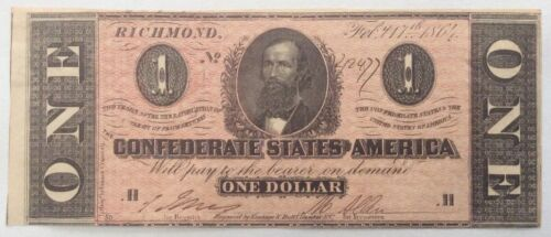 1864 Confederate T71 $1 Note - Nice color, Uncirculated.
