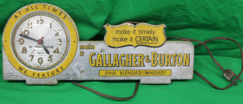 Original Vintage Gallagher & Burton Whiskey Advertising Clock