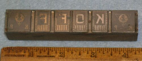Antique Zinc Printing Block KNIGHTS OF PYTHIAS WWI Banner * BR196