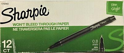 Sharpie 1742663 Plastic Point Stick Water Resistant Pen Black Ink Fine Dozen