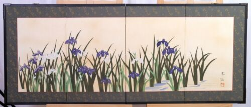 VGUC+ Japanese Byobu White and Purple Tulips Signed 4-Panel Folding Screen
