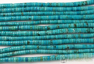 Natural Turquoise Gemstone Heishi Beads Spacer 3mm 4mm 6mm 8mm 10mm 12mm 16""