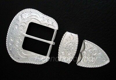 WESTERN BRIGHT SILVER FLORAL ENGRAVED ROPE EDGE BELT BUCKLE SET FIT 1-1/2