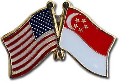 Wholesale Pack of 50 USA American Singapore Flag Hat Cap lapel Pin