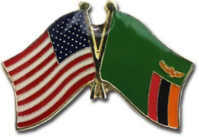 Wholesale Pack of 50 USA American Zambia Friendship Flag Hat Cap lapel Pin