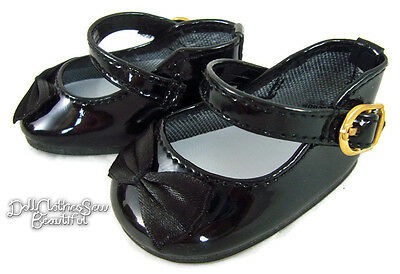 Black Patent Dress Shoes W/ Satin Bows for 18
