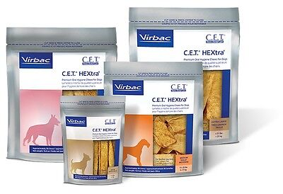 CET Premium Enzymatic Hextra Oral Hygiene Rawhide Chews for (Virbac Enzymatic Oral Hygiene Chews For Dogs)